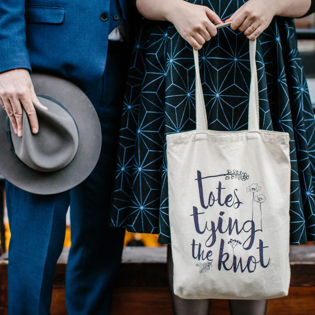 totes tying the knot totebag